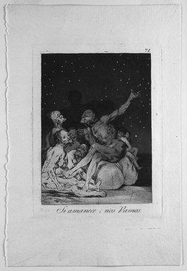 Francisco de Goya y Lucientes (Spanish, 1746-1828). <em>When Day Breaks We Will Be Off (Si amanece; nos vamos)</em>, 1797-1798. Etching and aquatint on laid paper, Sheet: 11 7/8 x 8 in. (30.2 x 20.3 cm). Brooklyn Museum, A. Augustus Healy Fund, Frank L. Babbott Fund, and Carll H. de Silver Fund, 37.33.71 (Photo: Brooklyn Museum, 37.33.71_bw.jpg)