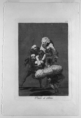 Francisco de Goya y Lucientes (Spanish, 1746-1828). <em>Unos a Otros</em>, 1797-1798. Etching and aquatint on laid paper, Sheet: 11 7/8 x 8 in. (30.2 x 20.3 cm). Brooklyn Museum, A. Augustus Healy Fund, Frank L. Babbott Fund, and Carll H. de Silver Fund, 37.33.77 (Photo: Brooklyn Museum, 37.33.77_bw.jpg)