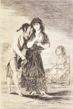 Francisco de Goya y Lucientes (Spanish, 1746-1828). <em>Even Thus He Cannot Make Her Out (Ni asi la distingue)</em>, 1797-1798. Etching, aquatint, and drypoint on laid paper, Sheet: 11 7/8 x 7 15/16 in. (30.2 x 20.2 cm). Brooklyn Museum, A. Augustus Healy Fund, Frank L. Babbott Fund, and Carll H. de Silver Fund, 37.33.7 (Photo: Brooklyn Museum, 37.33.7_transp5000.jpg)