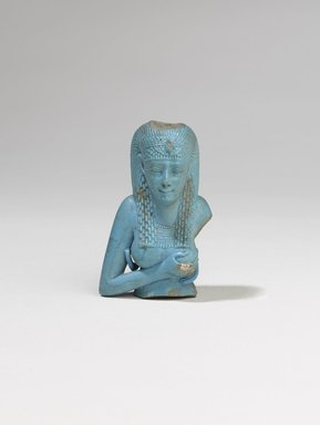 <em>Bust of Isis</em>, 305-30 B.C.E. Egyptian blue frit, 2 3/4 x 1 3/4 x 1 3/8 in. (7 x 4.5 x 3.5 cm). Brooklyn Museum, Charles Edwin Wilbour Fund, 37.332E. Creative Commons-BY (Photo: Brooklyn Museum, 37.332E_PS9.jpg)