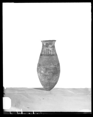 <em>Large Jar</em>. Clay, painted, 15 7/16 x Diam. 6 15/16 in. (39.2 x 17.6 cm). Brooklyn Museum, Charles Edwin Wilbour Fund, 37.352E. Creative Commons-BY (Photo: Brooklyn Museum, 37.352E_NegA_SL4.jpg)