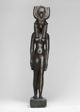 <em>The Goddess Hathor</em>, ca. 664-30 B.C.E. or later. Bronze, gold, electrum, 7 1/2 x 1 7/16 x 2 7/8 in. (19 x 3.7 x 7.3 cm). Brooklyn Museum, Charles Edwin Wilbour Fund, 37.356E. Creative Commons-BY (Photo: Brooklyn Museum, 37.356E_front_PS1.jpg)