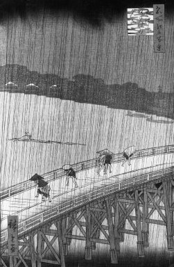 Utagawa Hiroshige (Ando) (Japanese, 1797-1858). <em>Sudden Shower over Shin Ohashi Bridge and Atake, (Ohashi Atake no yudachi) from the series, One Hundred Famous Views of Edo</em>, September 1857. Woodblock color print on paper, sheet:  13 1/8 x 9 7/16 in.  (33.3 x 24.0 cm);. Brooklyn Museum, By exchange, 37.363 (Photo: Brooklyn Museum, 37.363_bw_IMLS.jpg)