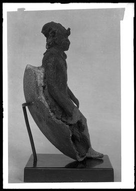 <em>Statuette of the Child Horus</em>, 4th-3rd century B.C.E. Bronze, plaster, 5 3/8 x 2 5/8 in. (13.7 x 6.6 cm). Brooklyn Museum, Charles Edwin Wilbour Fund, 37.364E. Creative Commons-BY (Photo: Brooklyn Museum, 37.364E_NegE_SL4.jpg)