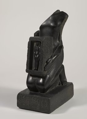 <em>Pawerem, Priest of Bastet</em>, 570-510 B.C.E. Basalt, 18 1/8 × 7 1/2 × 11 1/4 in., 74 lb. (46 × 19.1 × 28.6 cm, 33.57kg). Brooklyn Museum, Charles Edwin Wilbour Fund, 37.36E. Creative Commons-BY (Photo: Brooklyn Museum, 37.36E_threequarter_PS9.jpg)