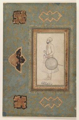<em>Portrait of Kuka Azam Shah</em>, ca. 1640. Ink and faint traces of color on paper, sheet: 12 3/8 x 8 in.  (31.4 x 20.3 cm). Brooklyn Museum, Ella C. Woodward Memorial Fund, 37.36 (Photo: Brooklyn Museum, 37.36_IMLS_PS3.jpg)