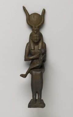 <em>Statue of Isis Nursing the Child Horus</em>, 664-332 B.C.E. Bronze, 10 7/16 x 2 11/16 x 3 7/16 in. (26.5 x 6.9 x 8.8 cm). Brooklyn Museum, Charles Edwin Wilbour Fund, 37.371E. Creative Commons-BY (Photo: Brooklyn Museum, 37.371E_PS2.jpg)