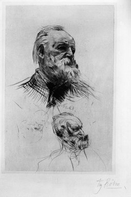 Auguste Rodin (French, 1840-1917). <em>Victor Hugo de Trois-quart</em>, 1884. Dry-point, 4th state of 8 on laid China paper, Image: 8 x 5 1/16 in. (20.3 x 10.3 cm). Brooklyn Museum, Henry L. Batterman Fund, 37.375 (Photo: Brooklyn Museum, 37.375_bw.jpg)