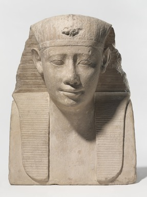 <em>Ptolemy II</em>, 285-246 B.C.E. Limestone, 17 15/16 × 14 × 8 1/4 in., 64 lb. (45.6 × 35.6 × 21 cm, 29.03kg). Brooklyn Museum, Charles Edwin Wilbour Fund, 37.37E. Creative Commons-BY (Photo: , 37.37E_PS9.jpg)