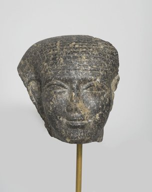 <em>Fragmentary Head</em>, ca. 1759-1675 B.C.E. Granite, 5 3/8 x 4 1/8 x 3 7/8 in. (13.7 x 10.5 x 9.8 cm). Brooklyn Museum, Gift of Mrs. Frederic B. Pratt, 37.394. Creative Commons-BY (Photo: Brooklyn Museum, 37.394_front_edited_PS2.jpg)