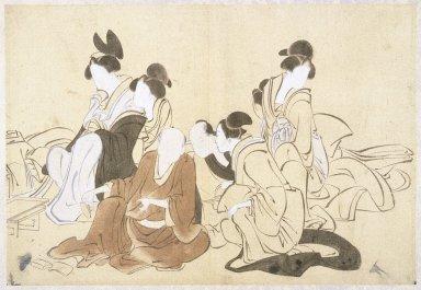 Kawanabe Kyosai (Japanese, 1831-1889). <em>Sketch</em>, 19th century. Ink, watercolors on paper, Image: 10 5/8 x 15 3/8 in. (27 x 39 cm). Brooklyn Museum, Designated Purchase Fund, 37.396 (Photo: Brooklyn Museum, 37.396_IMLS_SL2.jpg)