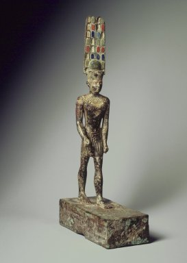 <em>Statuette of Amun</em>, ca. 1990-30 B.C.E. Bronze, 13 5/16 x 2 7/8 x 6 1/4 in. (33.8 x 7.3 x 15.8 cm). Brooklyn Museum, Charles Edwin Wilbour Fund, 37.4. Creative Commons-BY (Photo: Brooklyn Museum, 37.4.jpg)
