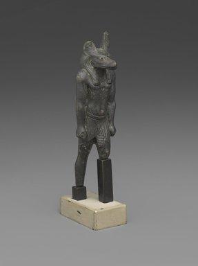 <em>Statuette of Anubis</em>, 664-332 B.C.E. Bronze, electrum, gold, 3 3/8 x 1 1/16 x 3/4 in. (8.6 x 2.7 x 1.9 cm). Brooklyn Museum, Charles Edwin Wilbour Fund, 37.401E. Creative Commons-BY (Photo: Brooklyn Museum, 37.401E_PS9.jpg)
