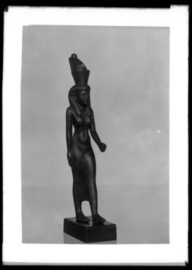 <em>Statuette of the Goddess Mut</em>, 305-30 B.C.E. Bronze, 4 13/16 x 15/16 x 1 1/8 in. (12.2 x 2.4 x 2.9 cm). Brooklyn Museum, Charles Edwin Wilbour Fund, 37.403E. Creative Commons-BY (Photo: Brooklyn Museum, 37.403E_NegA_SL4.jpg)