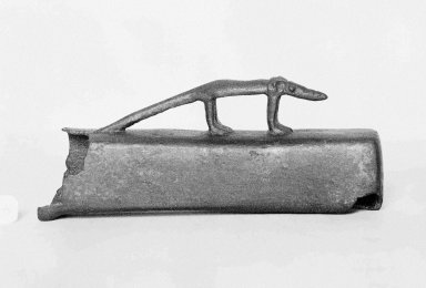 <em>Small Coffin for a Mummified Shrew</em>, 664-332 B.C.E. Bronze, 1 1/4 x 2 1/8 x 5 5/16 in. (3.2 x 5.4 x 13.5 cm). Brooklyn Museum, Charles Edwin Wilbour Fund, 37.409E. Creative Commons-BY (Photo: Brooklyn Museum, 37.409E_glass_SL1.jpg)