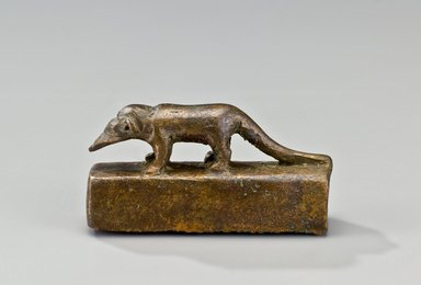 <em>Shrew Coffin</em>, 664–30 B.C.E. Bronze, animal remains, 1 5/16 x 3/4 x 2 1/2 in., 0.2 lb. (3.3 x 1.9 x 6.4 cm, 0.08kg). Brooklyn Museum, Charles Edwin Wilbour Fund, 37.410Ea-b. Creative Commons-BY (Photo: Brooklyn Museum (Gavin Ashworth,er), 37.410E_Gavin_Ashworth_photograph.jpg)