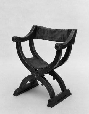 <em>Chair</em>, 16th century. Walnut wood, metal, 36 7/16 x 29 1/2 x 19 11/16 in. (92.5 x 75 x 50 cm). Brooklyn Museum, Gift of Mrs. Frederic B. Pratt, 37.416. Creative Commons-BY (Photo: Brooklyn Museum, 37.416_acetate_bw.jpg)