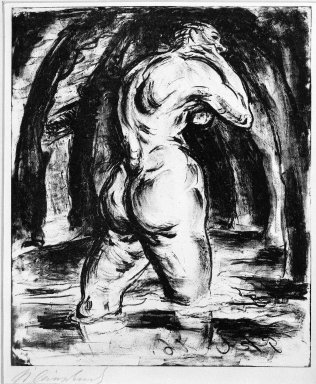 Paul Kleinschmidt (German, 1883-1949). <em>In Water (Im Wasser)</em>, 1910. Lithograph on wove paper, Image: 9 3/8 x 7 7/8 in. (23.8 x 20 cm). Brooklyn Museum, Gift of J. B. Neumann, 37.422 (Photo: Brooklyn Museum, 37.422_bw_IMLS.jpg)