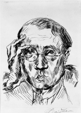 Ludwig Meidner (German, 1884-1966). <em>Portrait of Mr. Bloch (Porträt Herr Bloch)</em>, 1919. Drypoint on laid paper, Image (Plate): 7 7/8 x 5 7/8 in. (20 x 14.9 cm). Brooklyn Museum, Gift of J. B. Neumann, 37.425. © artist or artist's estate (Photo: Brooklyn Museum, 37.425_bw_IMLS.jpg)