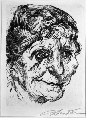 Ludwig Meidner (German, 1884-1966). <em>Portrait of an Old Woman (Porträt einer Greisin)</em>, 1920. Drypoint on laid paper, Image (Plate): 9 3/8 x 7 1/4 in. (23.8 x 18.4 cm). Brooklyn Museum, Gift of J. B. Neumann, 37.427. © artist or artist's estate (Photo: Brooklyn Museum, 37.427_bw_IMLS.jpg)