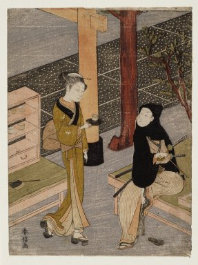 Suzuki Harunobu (Japanese, 1724-1770). <em>The artist and O-sen</em>, ca. 1769. Color woodblock print on paper, 10 7/16 x 7 3/4 in. (26.5 x 19.7 cm). Brooklyn Museum, By exchange, 37.433 (Photo: Brooklyn Museum, 37.433_IMLS_SL2.jpg)