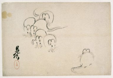 Shibata Zeshin (Japanese, 1807-1891). <em>White Mice</em>, 1893. Woodblock color print, 10 1/8 x 15 1/16 in. (25.7 x 38.3 cm). Brooklyn Museum, By exchange, 37.434 (Photo: Brooklyn Museum, 37.434_IMLS_SL2.jpg)