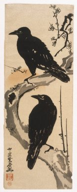 Kawanabe Kyosai (Japanese, 1831-1889). <em>Two Crows</em>, circa 1885. Woodblock color print, 27 1/2 x 10 in. (69.9 x 25.4 cm). Brooklyn Museum, By exchange, 37.435 (Photo: Brooklyn Museum, 37.435_IMLS_SL2.jpg)