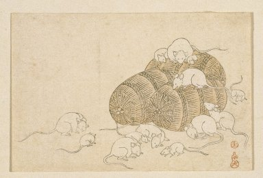 <em>Egoyomi (Rats and Rice Bales)</em>, 1790-1795. Color woodblock print on paper, sheet: 3 7/16 x 5 3/16 in. (8.7 x 13.2 cm). Brooklyn Museum, By exchange, 37.438 (Photo: Brooklyn Museum, 37.438_IMLS_SL2.jpg)