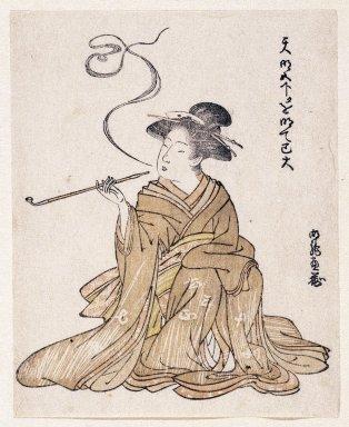 Korinsai ? (Japanese). <em>Egoyomi (Beauty Smoking)</em>, 1785-1790. Color woodblock print on paper, sheet: 5 9/16 x 4 1/2 in. (14.2 x 11.5 cm). Brooklyn Museum, By exchange, 37.440 (Photo: Brooklyn Museum, 37.440_IMLS_SL2.jpg)