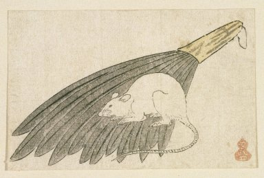 <em>Egoyomi (Rat)</em>, 1752-1793. Color woodblock print on paper, sheet: 3 5/16 x 5 3/16 in. (8.4 x 13.1 cm). Brooklyn Museum, By exchange, 37.443 (Photo: Brooklyn Museum, 37.443_IMLS_SL2.jpg)