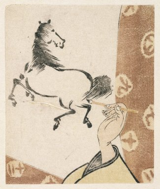 <em>E-Goyomi (Horse and Hand Holding Brush)</em>, 1786-1787. Color woodblock print on paper., 4 1/2 x 3 3/4 in. (11.5 x 9.6 cm). Brooklyn Museum, By exchange, 37.445 (Photo: Brooklyn Museum, 37.445_IMLS_SL2.jpg)
