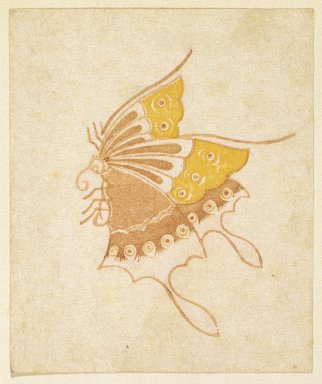 <em>Egoyomi (Butterfly)</em>, 18th century. Color woodblock print on paper, Image: 3 1/8 x 4 3/16 in. (8 x 10.7 cm). Brooklyn Museum, By exchange, 37.447 (Photo: Brooklyn Museum, 37.447_IMLS_SL2.jpg)