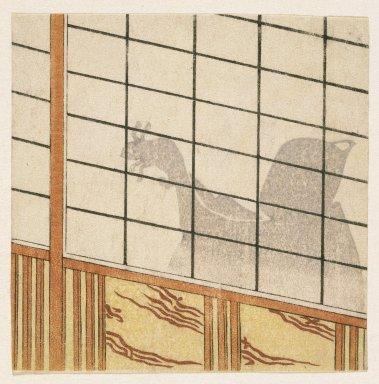 <em>E-Goyomi (Shadow of Man on Shoji)</em>, 1782-1785. Color woodblock print on paper, 4 11/16 x 4 3/4 in. (11.9 x 12 cm). Brooklyn Museum, By exchange, 37.448 (Photo: Brooklyn Museum, 37.448_IMLS_SL2.jpg)