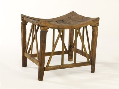 <em>Wooden Stool with Latticework Bracing</em>, ca. 1539-1295 B.C.E. Wood, 9 5/8 x 10 1/2 x 9 1/8 in. (24.4 x 26.7 x 23.2 cm). Brooklyn Museum, Charles Edwin Wilbour Fund, 37.45E. Creative Commons-BY (Photo: Brooklyn Museum, 37.45E_PS9.jpg)