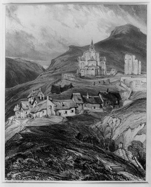 Louis-Gabriel-Eugène Isabey (French, 1803-1886). <em>Exterior of the Church of Saint Nectaire, Auvergne (Abside extérieur de l'église de Saint-Nectaire, Auvergne)</em>, 1831. Lithograph on China paper laid down, 8 7/16 x 11 9/16 in. (21.4 x 29.4 cm). Brooklyn Museum, Gift of Knoedler & Company, 37.460 (Photo: Brooklyn Museum, 37.460_acetate_bw.jpg)