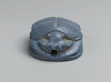 "<em>""Marriage Scarab"" of Amunhotep III and Queen Tiye</em>, ca. 1390-1353 B.C.E. Faience, glazed, 1 1/8 x 1 15/16 x 2 3/4 in. (2.8 x 5 x 7 cm). Brooklyn Museum, Charles Edwin Wilbour Fund, 37.475E. Creative Commons-BY (Photo: Brooklyn Museum, 37.475E_front_PS2.jpg)"