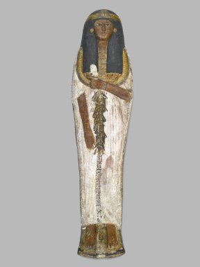 <em>Coffin of the Lady of the House, Weretwahset, Reinscribed for Bensuipet Containing Face Mask and Openwork Body Covering</em>, ca. 1292-1190 B.C.E. Wood, pigment (fragments a, b); Cartonnage, wood (fragment c); Cartonnage (fragment d)