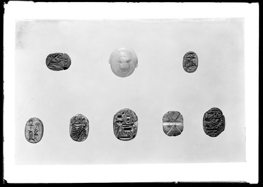 <em>Scarab Seal</em>. Steatite, glaze, 5/16 x 1/2 x 11/16 in. (0.8 x 1.2 x 1.7 cm). Brooklyn Museum, Charles Edwin Wilbour Fund, 37.496E. Creative Commons-BY (Photo: , 37.496E_37.497E_37.501E_37.503E_37.517E_37.520E_37.868E_37.1166E_GrpA_SL4.jpg)