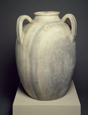 <em>Vase with Three Handles</em>, 12th-15th century. Marble, 30 3/4 x 24 in.  (78.1 x 61.0 cm). Brooklyn Museum, A. Augustus Healy Fund, 37.49E. Creative Commons-BY (Photo: Brooklyn Museum, 37.49E.jpg)