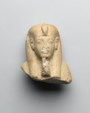 <em>Upper Portion of a Shabti of Akhenaten</em>, ca. 1352-1336 B.C.E. Limestone, pigment, 3 3/8 x 2 13/16 x 2 1/16 in. (8.6 x 7.1 x 5.3 cm). Brooklyn Museum, Charles Edwin Wilbour Fund, 37.500. Creative Commons-BY (Photo: Brooklyn Museum, 37.500_front_PS2.jpg)