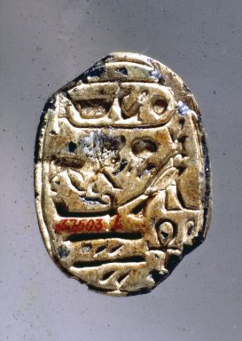 <em>Scarab Seal Bearing the Name of Amunhotep III</em>, ca. 1390-1353 B.C.E. or later. Steatite, glaze, 13/16 in. (2.1 cm). Brooklyn Museum, Charles Edwin Wilbour Fund, 37.503E. Creative Commons-BY (Photo: Brooklyn Museum, 37.503E.jpg)