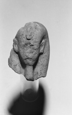 <em>Fragmentary Shabti of Akhenaten</em>, ca. 1352-1336 B.C.E. Limestone, 2 1/2 x 1 15/16 in. (6.4 x 4.9 cm). Brooklyn Museum, Charles Edwin Wilbour Fund, 37.509. Creative Commons-BY (Photo: Brooklyn Museum, 37.509_front_bw.jpg)