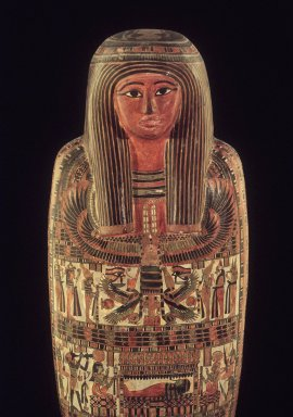 Egyptian. <em>Mummy and Cartonnage of Hor</em>, 798 B.C.E.-558 B.C.E. Linen, pigment, gesso, human remains, 69 1/2 x 18 x 13 in. (176.5 x 45.7 x 33 cm). Brooklyn Museum, Charles Edwin Wilbour Fund, 37.50E. Creative Commons-BY (Photo: Brooklyn Museum, 37.50E.jpg)