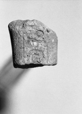 <em>Fragmentary Shabti of Akhenaten</em>, ca. 1352-1336 B.C.E. Limestone, 1 5/8 x 1 9/16 in. (4.1 x 4 cm). Brooklyn Museum, Charles Edwin Wilbour Fund, 37.510. Creative Commons-BY (Photo: Brooklyn Museum, 37.510_bw.jpg)