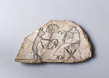 <em>Cat and Mouse</em>, ca. 1295-1075 B.C.E. Limestone, ink, 3 1/2 x 6 13/16 x 7/16 in. (8.9 x 17.3 x 1.1 cm). Brooklyn Museum, Charles Edwin Wilbour Fund, 37.51E. Creative Commons-BY (Photo: Brooklyn Museum (Gavin Ashworth,er), 37.51E_Gavin_Ashworth_photograph.jpg)