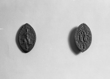 <em>Ellipse Seal - The Virgin in Majesty</em>. Bronze Brooklyn Museum, Gift of Marvin Chauncey Ross, 37.520. Creative Commons-BY (Photo: , 37.520_37.521_acetate_bw.jpg)