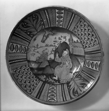 <em>Plate</em>, 16th century. Majolica, 15 1/2 x 2 7/8 in. (39.4 x 7.3 cm). Brooklyn Museum, Gift of Helen Babbott MacDonald, 37.527. Creative Commons-BY (Photo: Brooklyn Museum, 37.527_view1_acetate_bw.jpg)