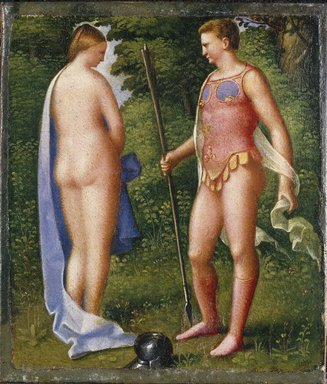 Attributed to Giulio Campagnola (Italian, Venetian, ca. 1482-ca. 1516). <em>Venus and Mars</em>. Oil on paper mounted on canvas, 7 1/2 x 6 1/2 in. (19.1 x 16.5 cm). Brooklyn Museum, Gift of Helen Babbott MacDonald, 37.529 (Photo: Brooklyn Museum, 37.529_SL1.jpg)