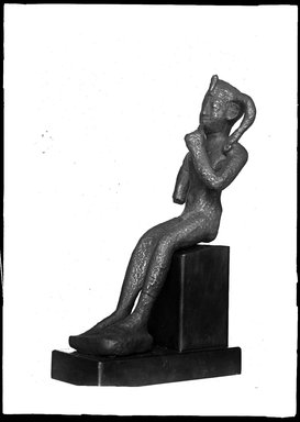 <em>Small Statuette of the Child Horus Seated</em>. Bronze, 4 x 1 1/2 x 2 15/16 in. (10.2 x 3.9 x 7.4 cm). Brooklyn Museum, Charles Edwin Wilbour Fund, 37.535E. Creative Commons-BY (Photo: Brooklyn Museum, 37.535E_NegA_SL4.jpg)