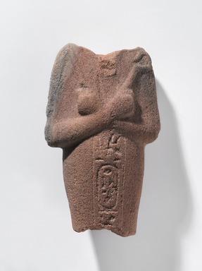 <em>Shabty of Akhenaten</em>, ca. 1352-1336 B.C.E. Sandstone (?), 5 1/4 × 3 1/4 × 1 3/4 in., 1 lb. (13.3 × 8.3 × 4.4 cm, 0.45kg). Brooklyn Museum, Charles Edwin Wilbour Fund, 37.545. Creative Commons-BY (Photo: , 37.545_PS9.jpg)